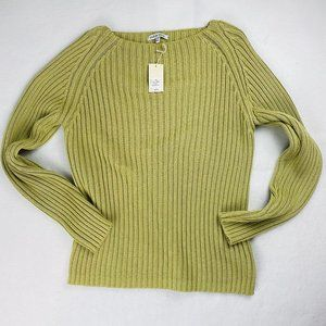 Subtle Tones Green Raglan Sweater Cotton M L NWT